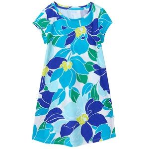 Gymboree Girl Aqua Floral Floral Tee Dress